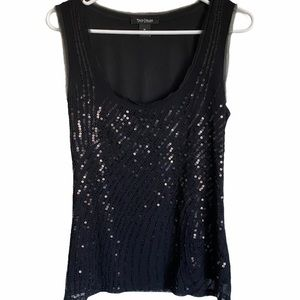 WHBM BLACK TANK WITH SEQUIN FRONT MEDIUM